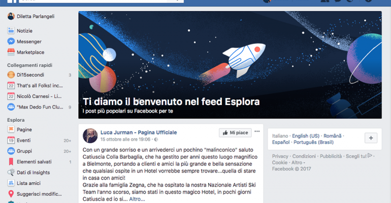 Facebook, il nuovo Feed Esplora arriva su desktop
